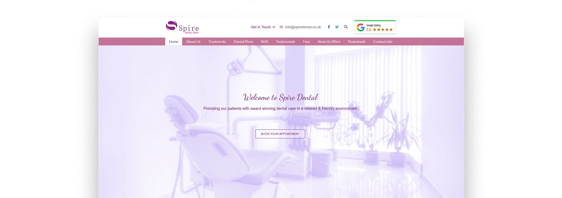 Website Design spire dental 2a